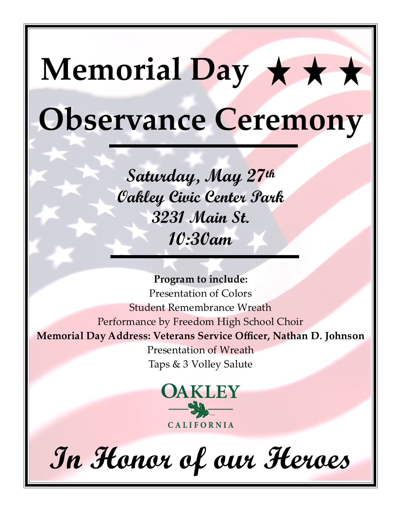 cafffcec54 Memorial Day Observance Ceremony - City of Oakley